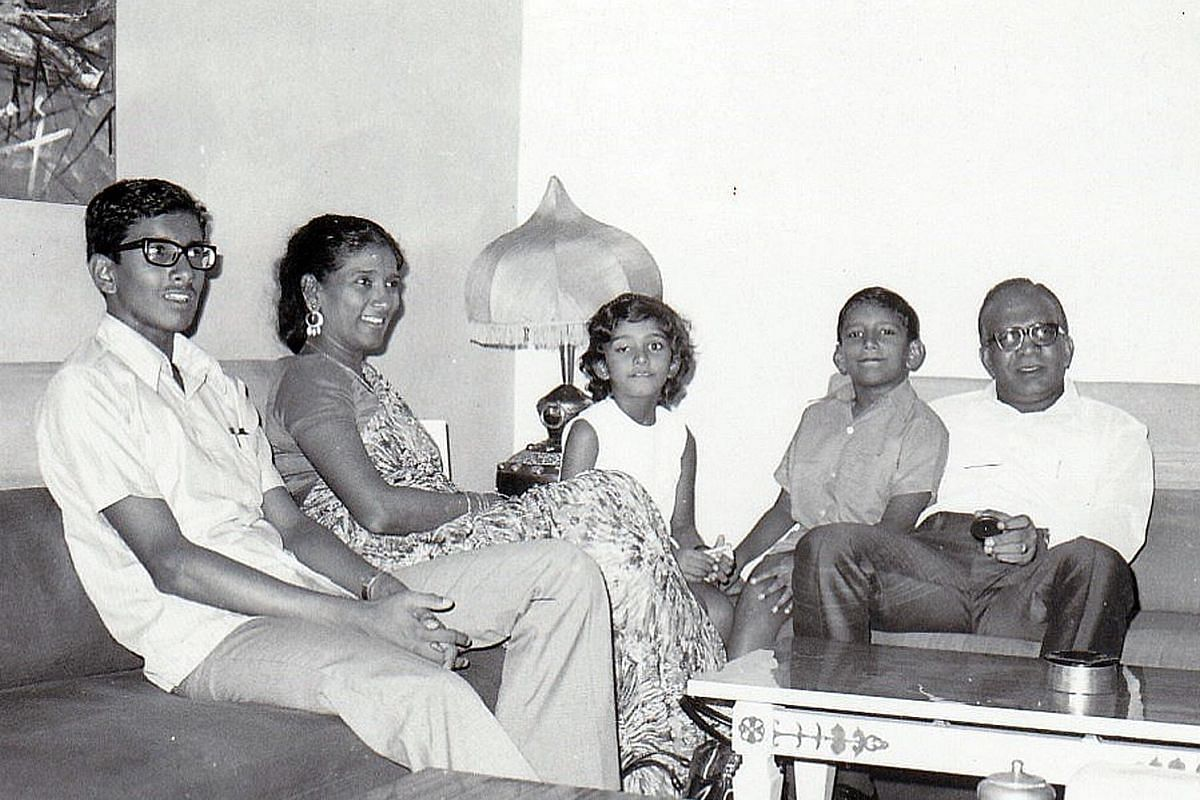My life so far: (Above) Mr Subaraj Rajathurai (second from right) in the early 1970s when he was about nine, with (from right) father R. Rajathurai, younger sister Shamira, mother R. Manoanmany and elder brother Manoraj.