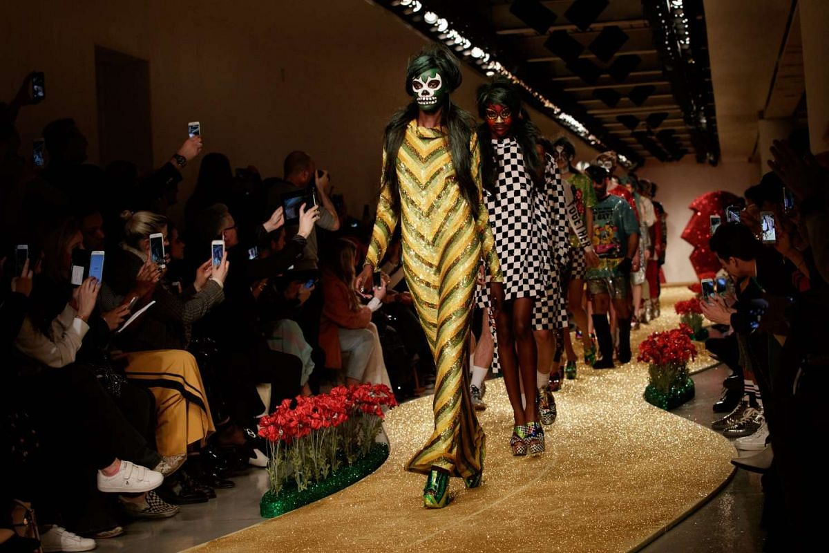 Models presenting creations by Ashish during the London Fashion Week, in London, Britain, on Feb 20, 2017.