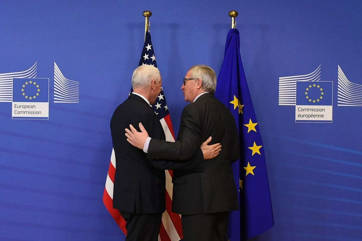 US Vice-President Mike Pence (left) meeting with European Commission President Jean-Claude Juncker at the European Commission in Brussels, on Feb 20, 2017.