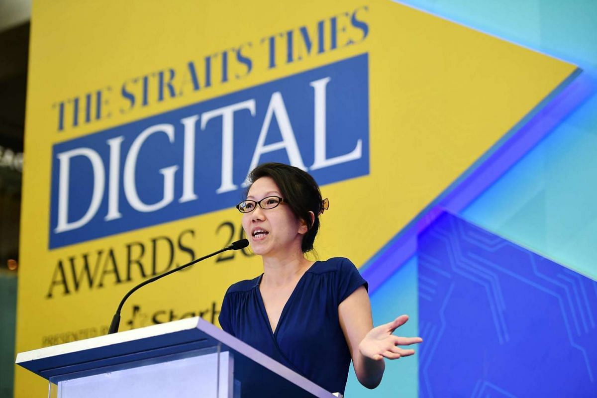 The Straits Times Tech Editor Irene Tham speaking at the awards ceremony at Marina Square atrium on Feb 21, 2017.