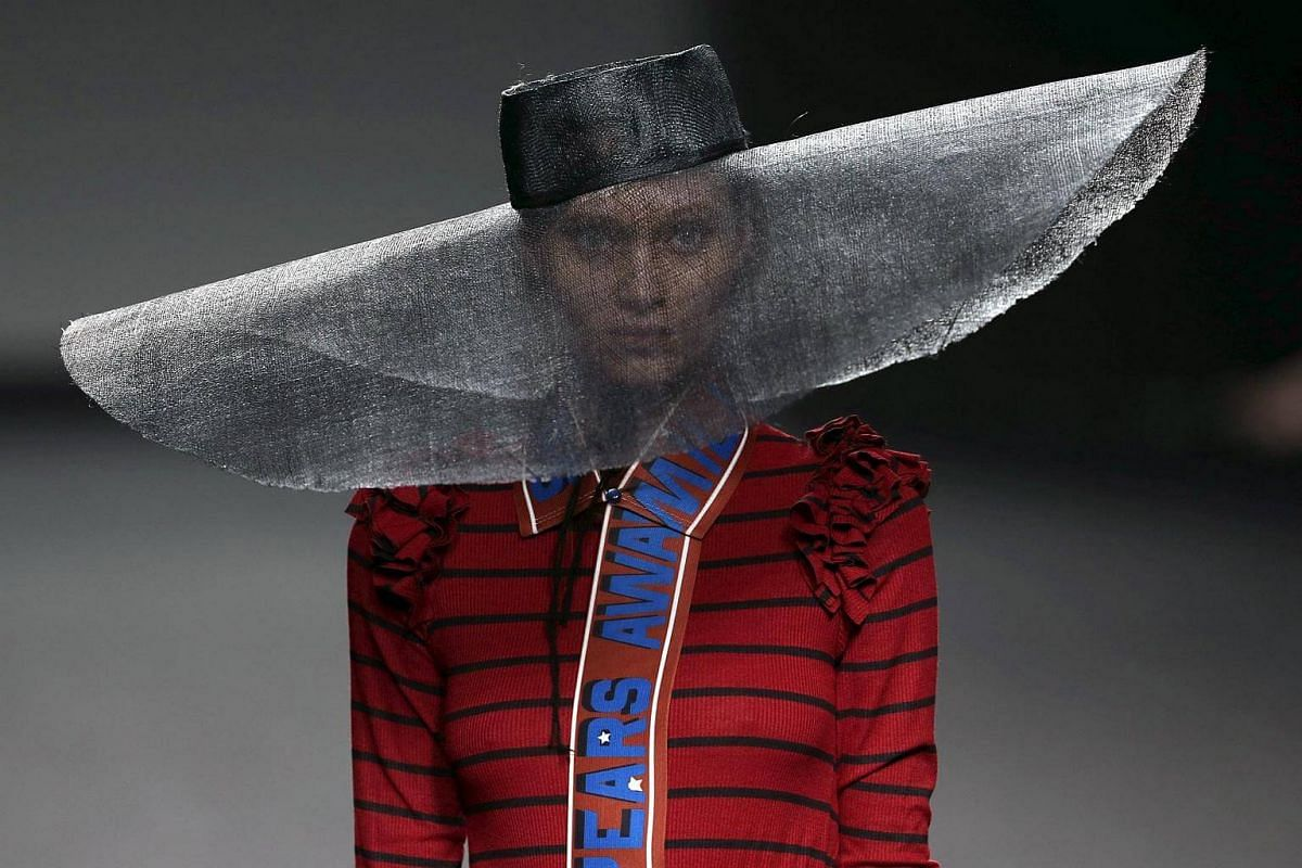 A model presenting a creation by Spanish label Amai Rodriguez from the 2017/2018 fall-winter collection during the Mercedes-Benz Fashion Week Madrid, in Madrid, Spain, on Feb 21, 2017.