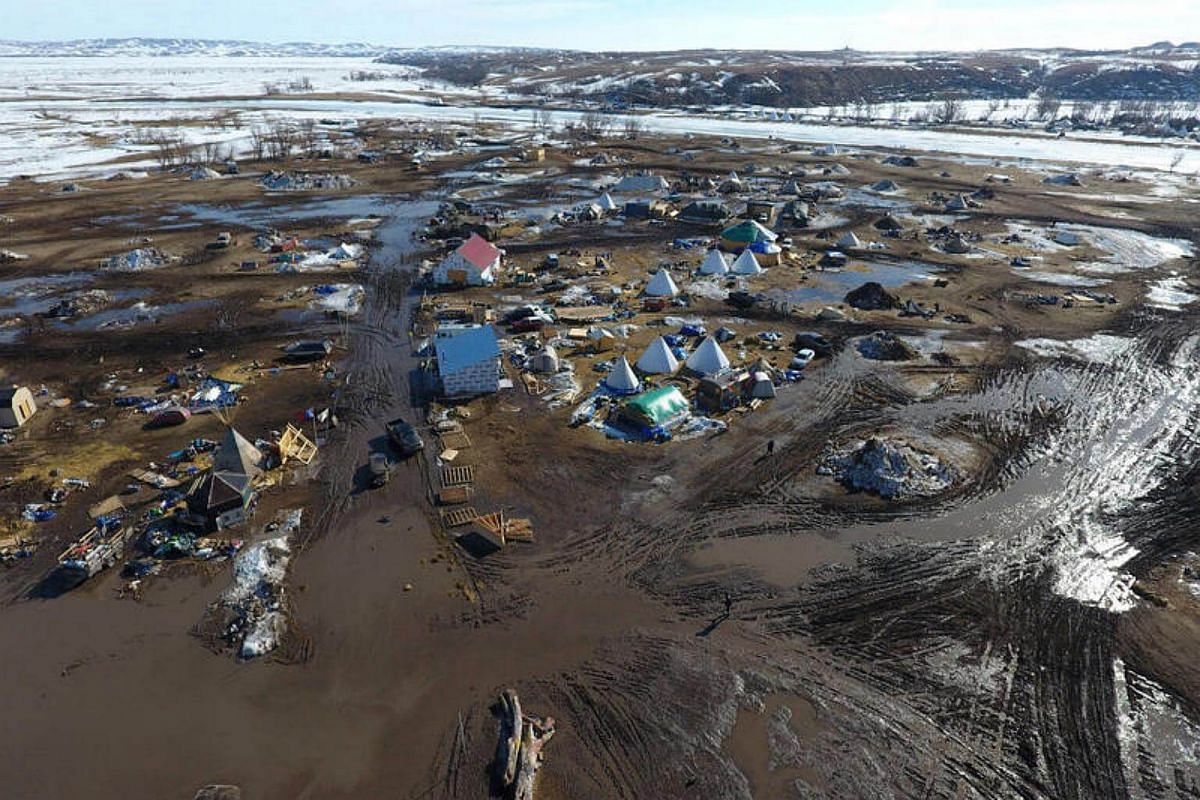 The Oceti Sakowin protest camp near the site of the Dakota Access pipeline in Cannon Ball, North Dakota, US, is pictured in this Feb 19, 2017, handout photo.