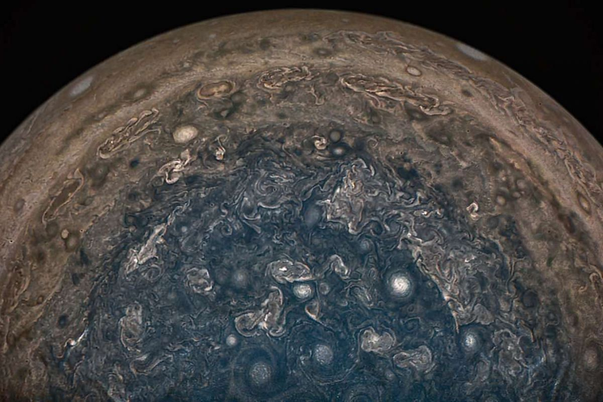 An image obtained from Nasa's Juno spacecraft showing Jupiter's south pole from an altitude of about 101,100km above the clouds.