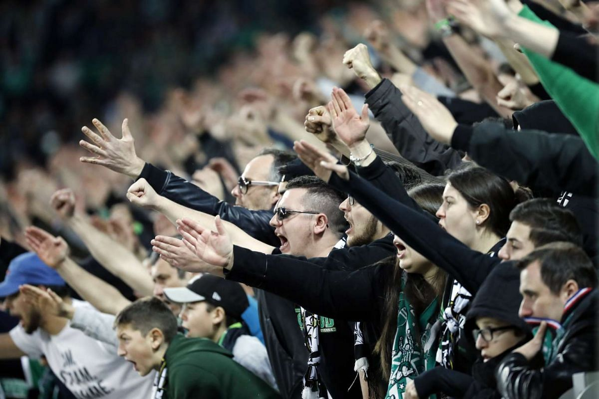 AS Saint Etienne supporters cheering their team on during the Uefa Europa League match against Manchester United, at the Geoffroy-Guichard Stadium in Saint-Etienne, France, on Feb 22, 2017.
