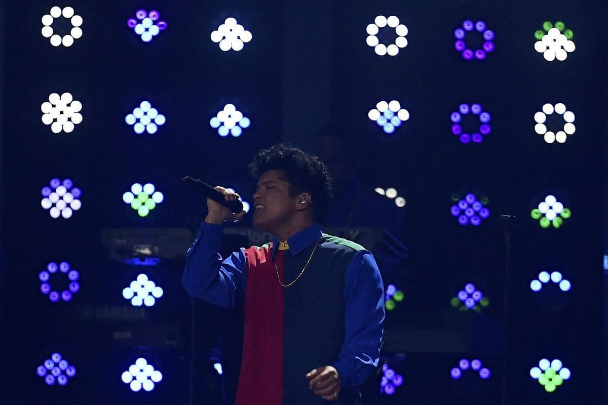 Bruno Mars performs at the Brit Awards at the O2 Arena in London, Britain, on Feb 22, 2017.