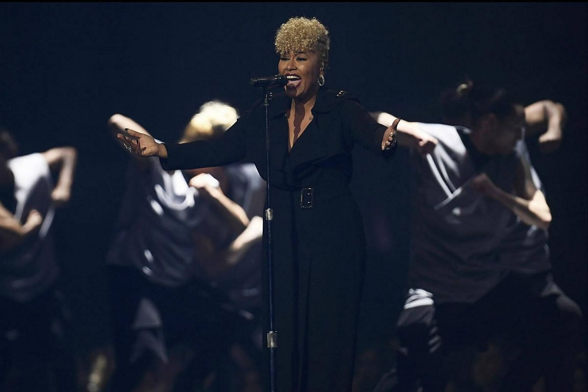 Emile Sande performs at the Brit Awards at the O2 Arena in London, Britain, on Feb 22, 2017.