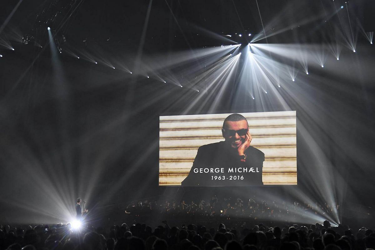 Chris Martin of Coldplay performs a tribute to George Michael at the Brit Awards at the O2 Arena in London, Britain, on Feb 22, 2017.