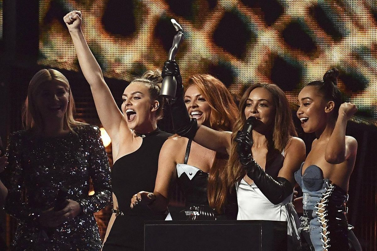 Little Mix accept the award for British Single at the Brit Awards at the O2 Arena in London, Britain, on Feb 22, 2017.