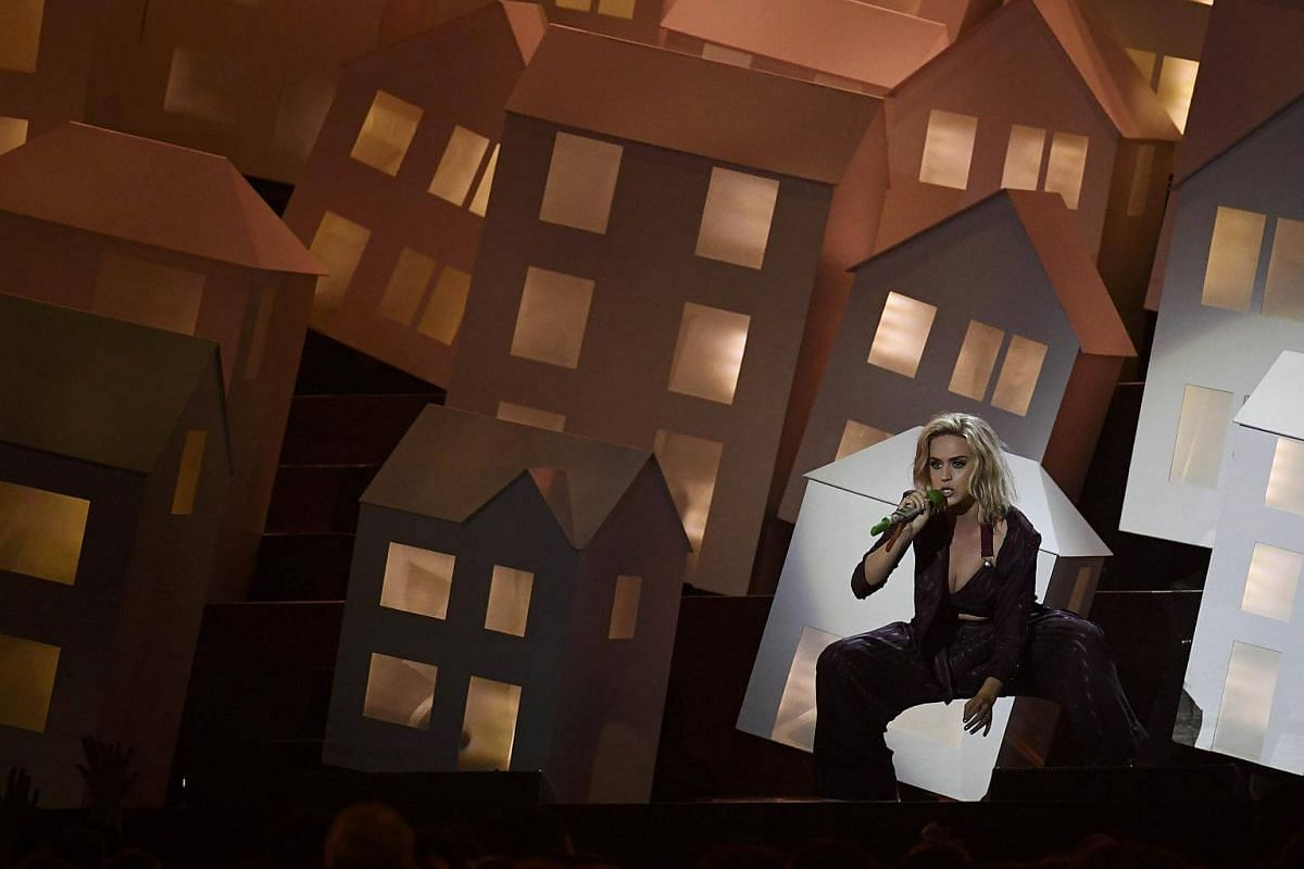 Katy Perry performs at the Brit Awards at the O2 Arena in London, Britain, on Feb 22, 2017.