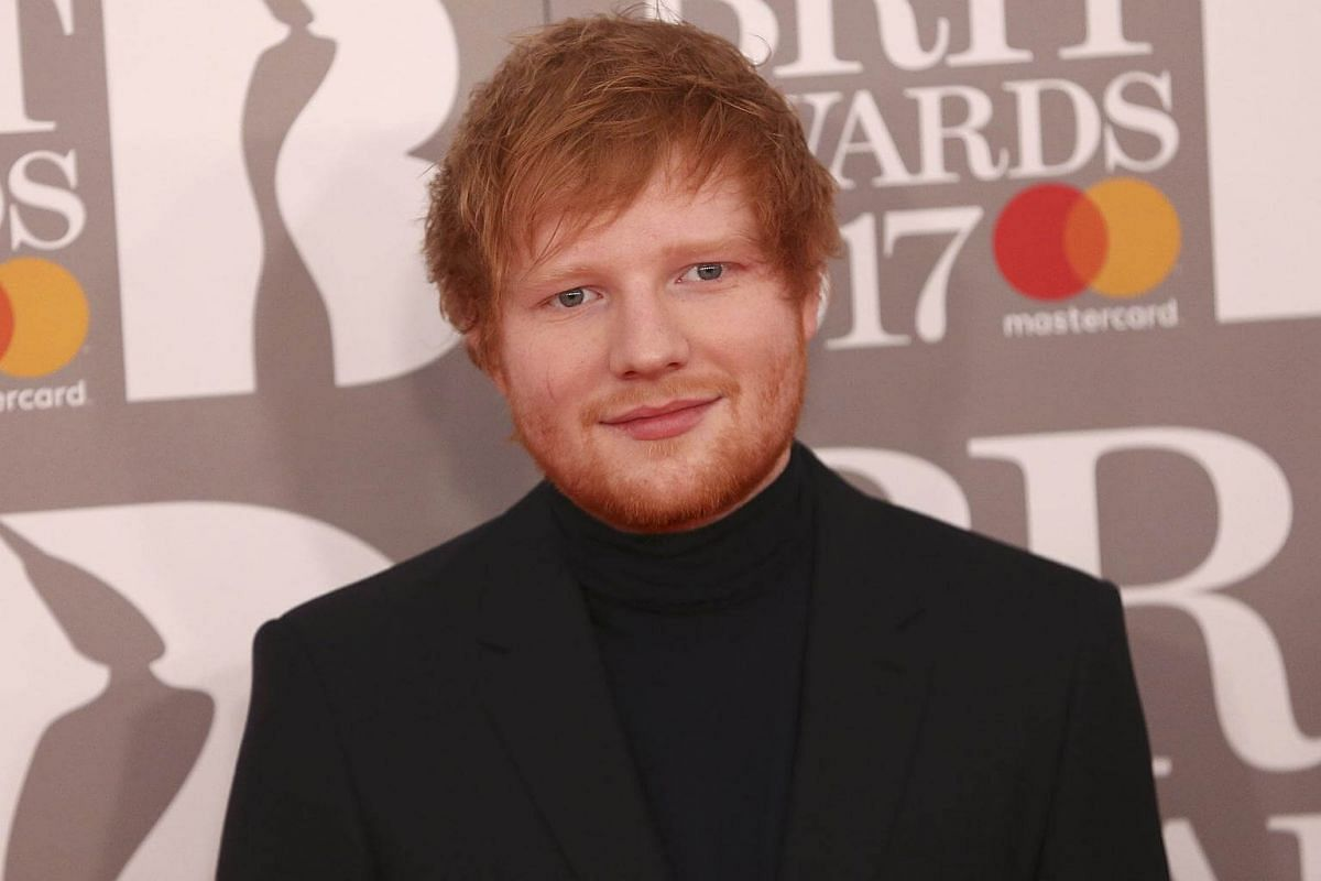 Ed Sheeran arrives for the Brit Awards at the O2 Arena in London, Britain, on Feb 22, 2017.