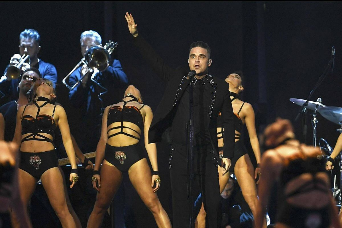 Robbie Williams performs at the Brit Awards at the O2 Arena in London, Britain, on Feb 22, 2017.