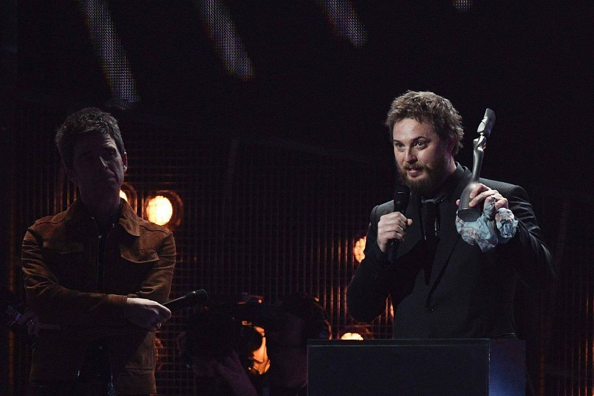 David Bowie's son, Duncan Jones collects the award for British album of the year on behalf of his late father for 'Blackstar' during the BRIT Awards 2017 ceremony and live show in London on Feb 22, 2017.