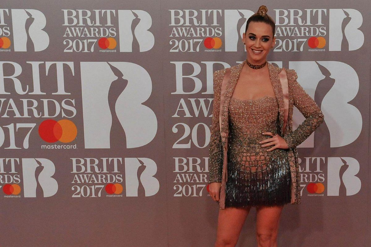 US singer Katy Perry poses on the red carpet arriving for the BRIT Awards 2017 in London on Feb 22, 2017.