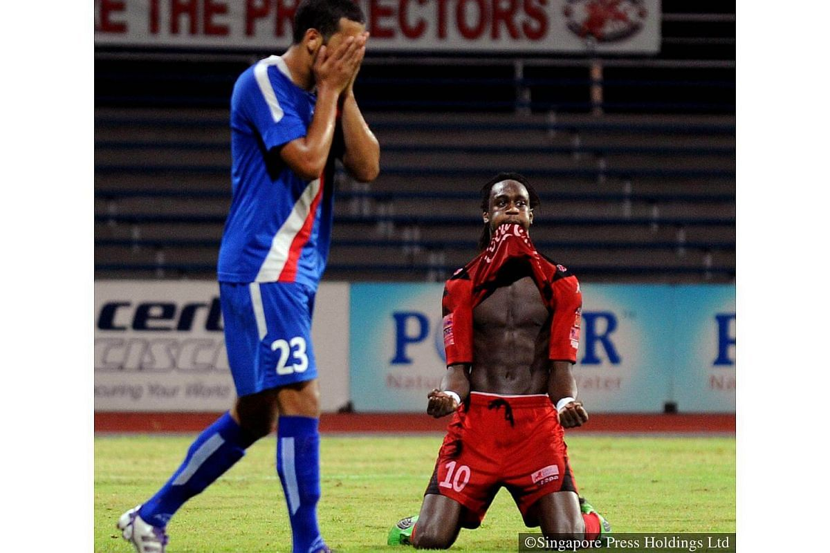 2011: Frederic Mendy (right) celebrating after scoring for Home United. Used to be known as Police FC, Home won the S-League twice - in 1999 and 2003.