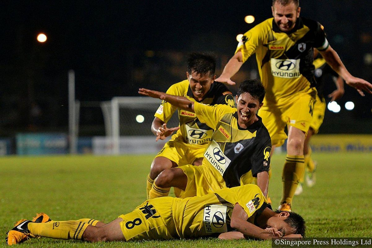 2013: Shahdan Sulaiman (on the ground) after scoring Tampines Rovers' late winner during a match at Bedok Stadium where Balestier Khalsa lost by 1 goal.