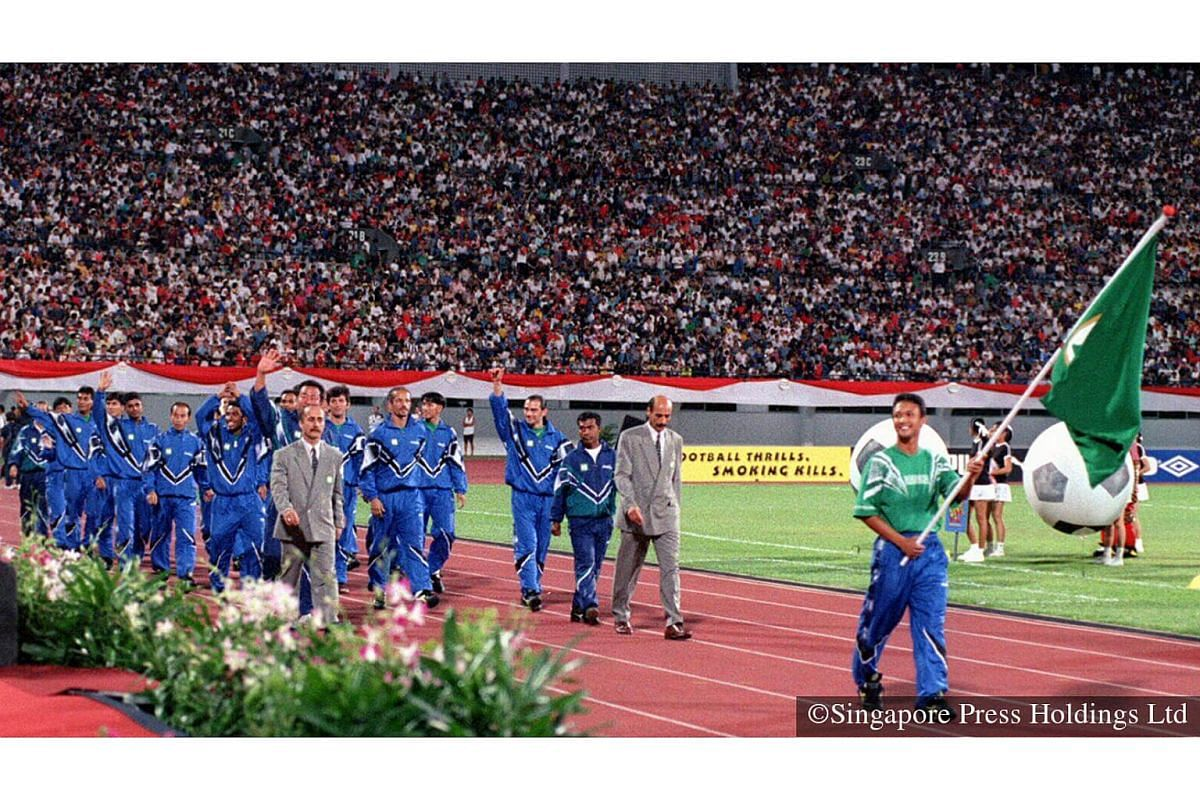 1996: All together now: OLE… OLE, OLE, OLE - A record 55,000 crowd turned up at the National Stadium for the opening ceremony of  Singapore's first experiment with professional football. Singapore football prodigy Fandi Ahmad makes his brief appear