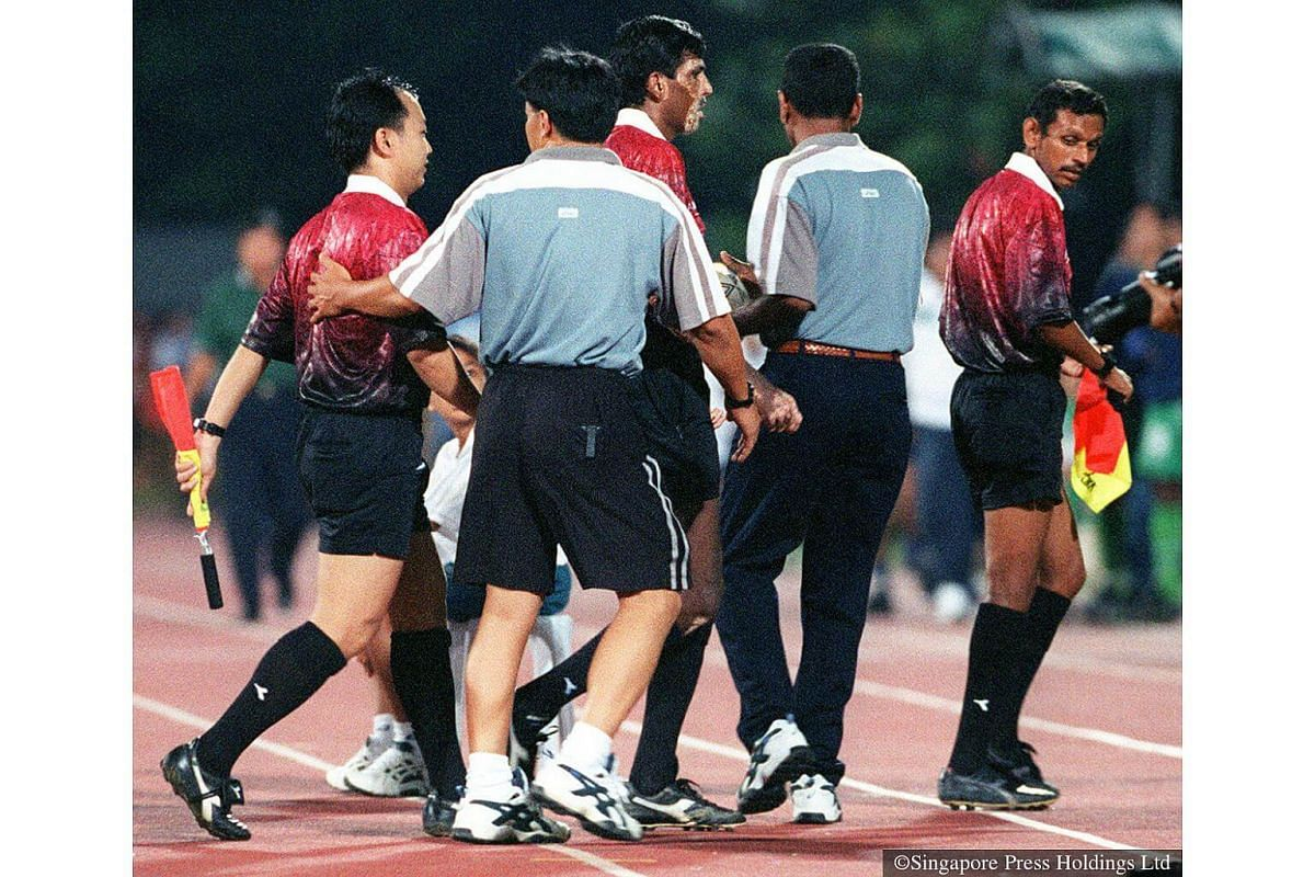 """1997: A Geylang United-SAFFC game turned ugly towards the end. Referee S Kennedy was put under the spotlight as the man to blame. Some of his decisions irked both teams, as well the 5,200 crowd as they disputed his decisions with the famous """"referee"""