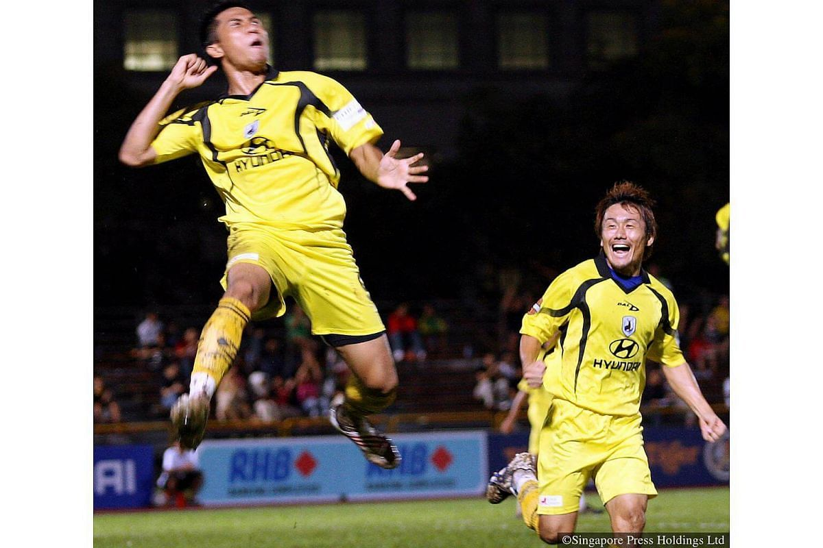 2009: Tampines Rovers striker Noh Alam Shah celebrates after scoring a goal against Sengkang Punggol at the Tampines Stadium. On the right is Akihiro Nakamura, one of S-League's longest serving foreigners.