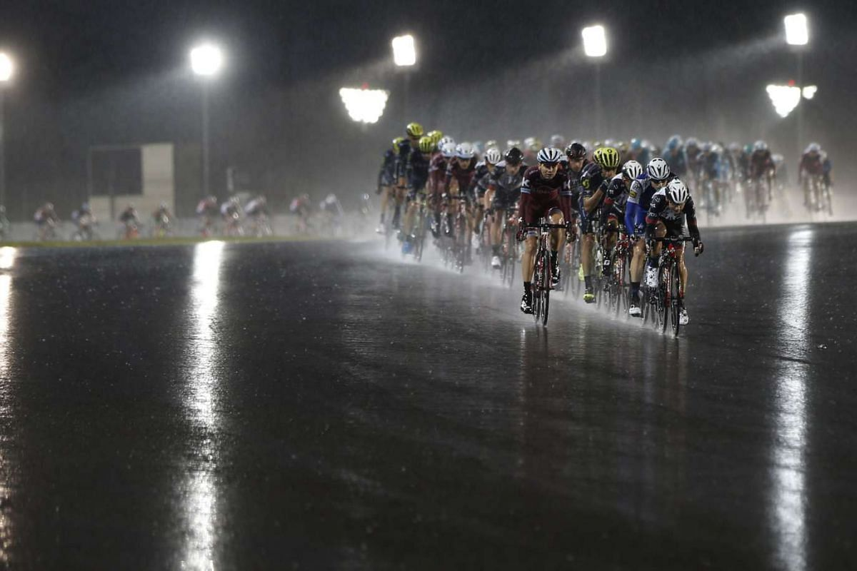 The peloton riding during the final Yas Island stage of the Tour of Abu Dhabi on Feb 26, 2017.