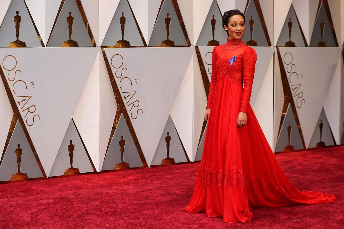 Actress Ruth Negga posing on the red carpet during the 89th Academy Awards in Hollywood, California, on Feb 26, 2017.