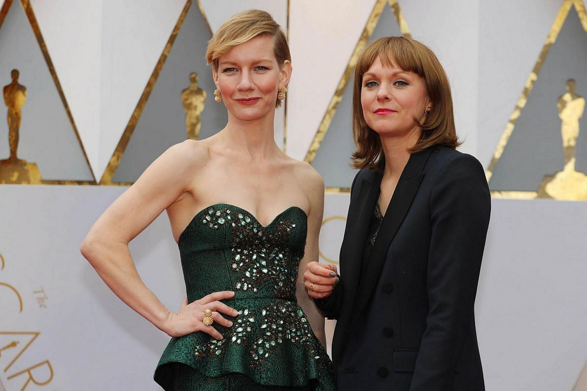 Sandra Huller and Maren Ade (right) posing on the red carpet during the 89th Academy Awards in Hollywood, California, on Feb 26, 2017.