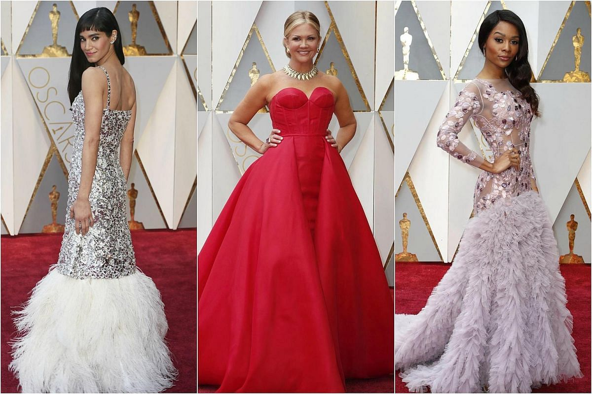 (From left) Sofia Boutella, Nancy O'Dell and Zuri Hall arriving on the red carpet during the 89th Academy Awards in Hollywood, California, on Feb 26, 2017.