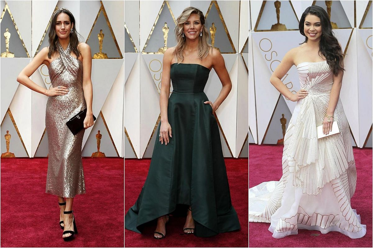 (From left) Louise Roe, Charissa Thompson and Auli'i cravalho arriving on the red carpet during the 89th Academy Awards in Hollywood, California, on Feb 26, 2017.
