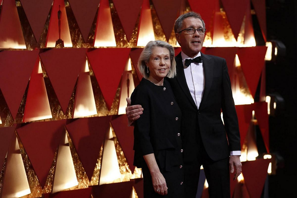 Sandy Reynolds-Wasco and David Wasco of La La Land, nominated for Achievement in Production Design, arriving on the red carpet during the 89th Academy Awards in Hollywood, California, on Feb 26, 2017.