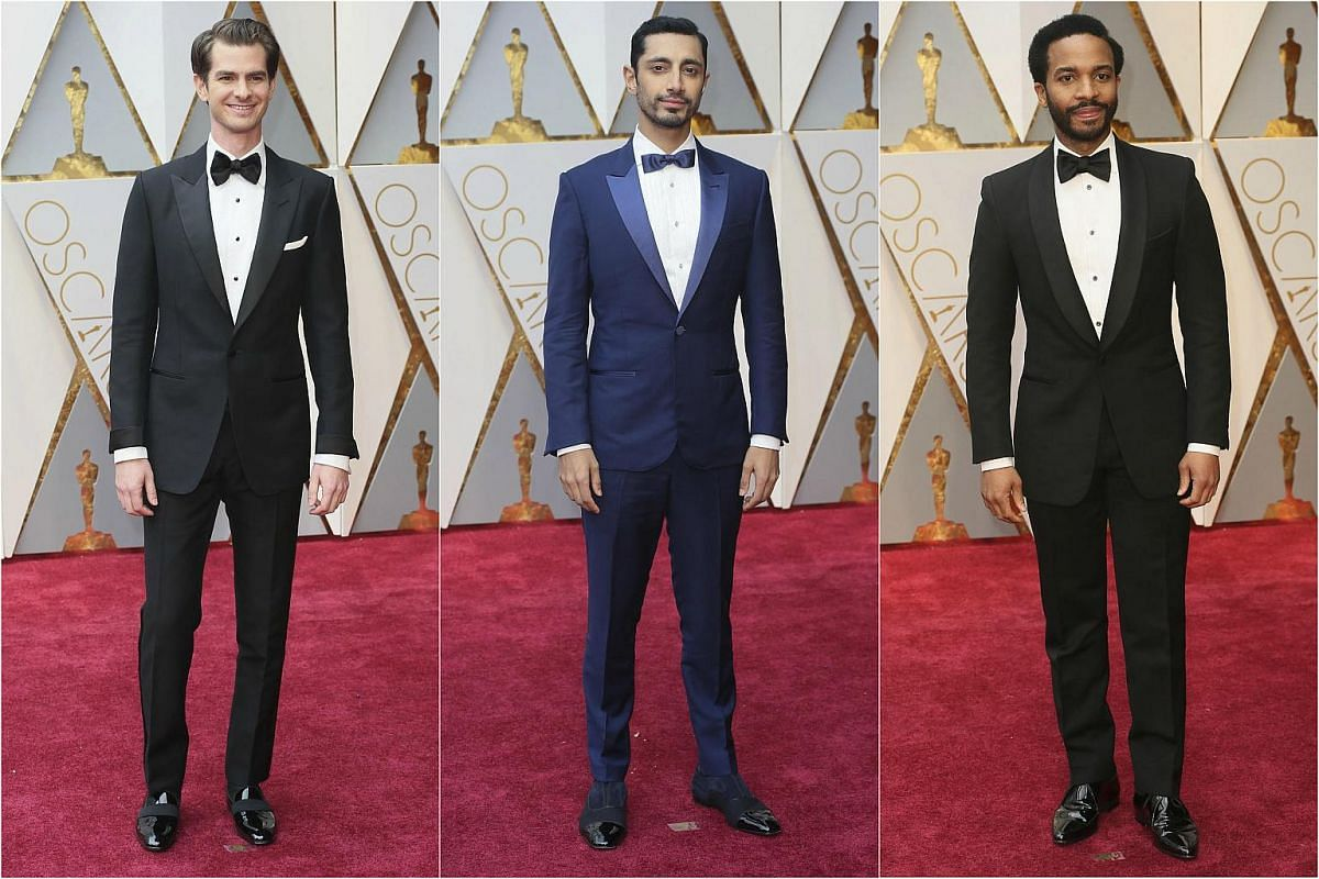 (From left)  Andrew Garfield, Riz Ahmed and Andre Holland posing on the red carpet during the 89th Academy Awards in Hollywood, California, on Feb 26, 2017.