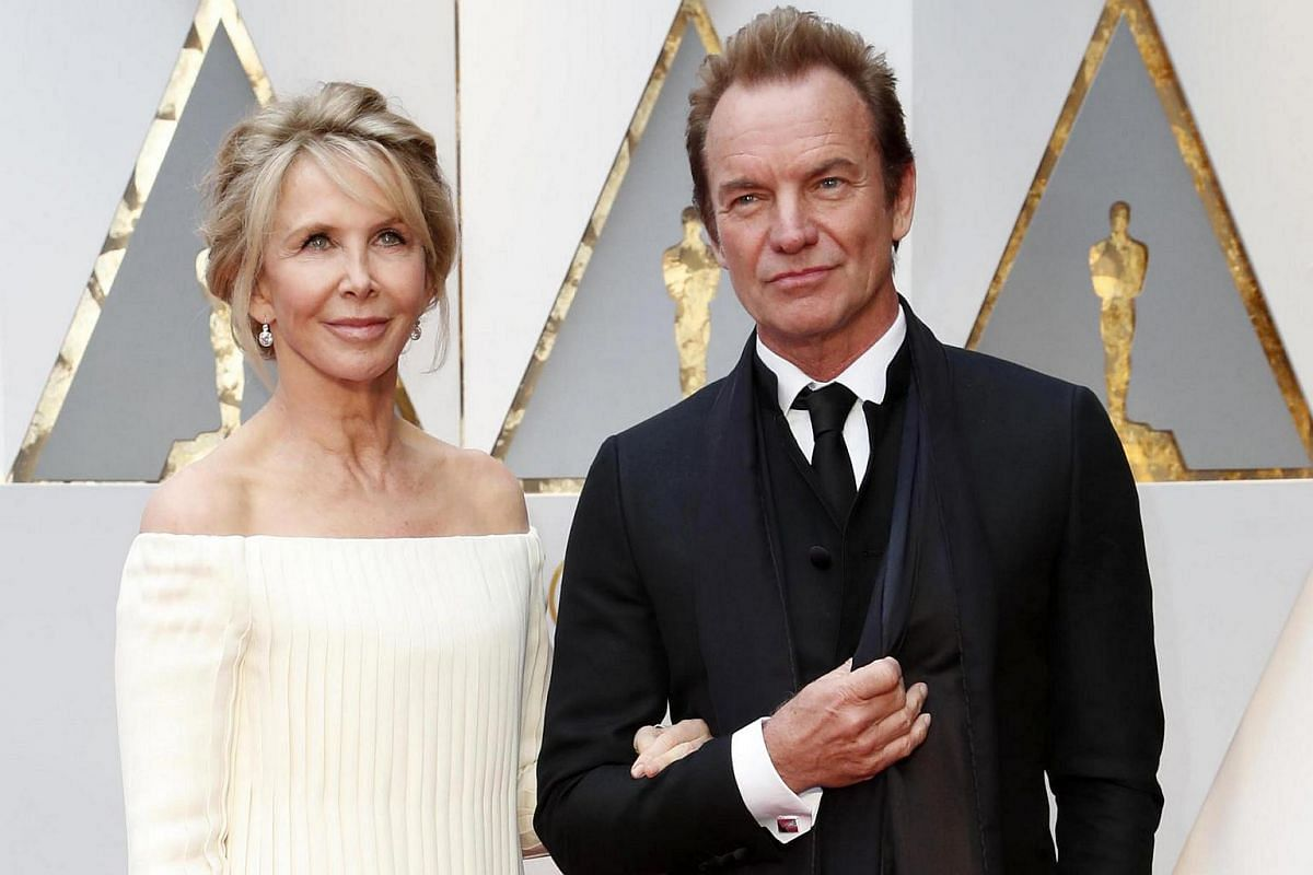 Sting (right) and Trudie Styler arriving for the 89th annual Academy Awards ceremony at the Dolby Theatre in Hollywood, California, US, on Feb 26, 2017.