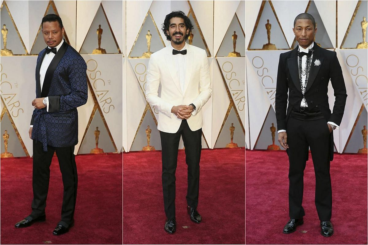 (From left) Terrence Howard, Dev Patel and Pharrell Williams posing on the red carpet for the 89th Oscars, on Feb 26, 2017.
