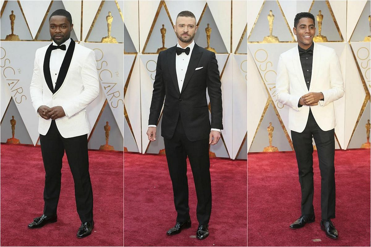 (From left) David Oyelowo, Justin Timberlake and Jharrel Jerome posing on the red carpet for the 89th Oscars, on Feb 26, 2017.
