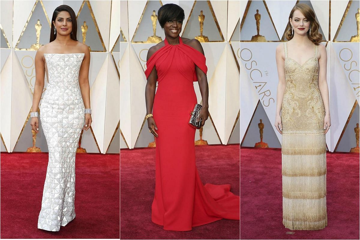 (From left) Priyanka Chopra, Viola Davis and Emma Stone posing on the red carpet for the 89th Oscars, on Feb 26, 2017.