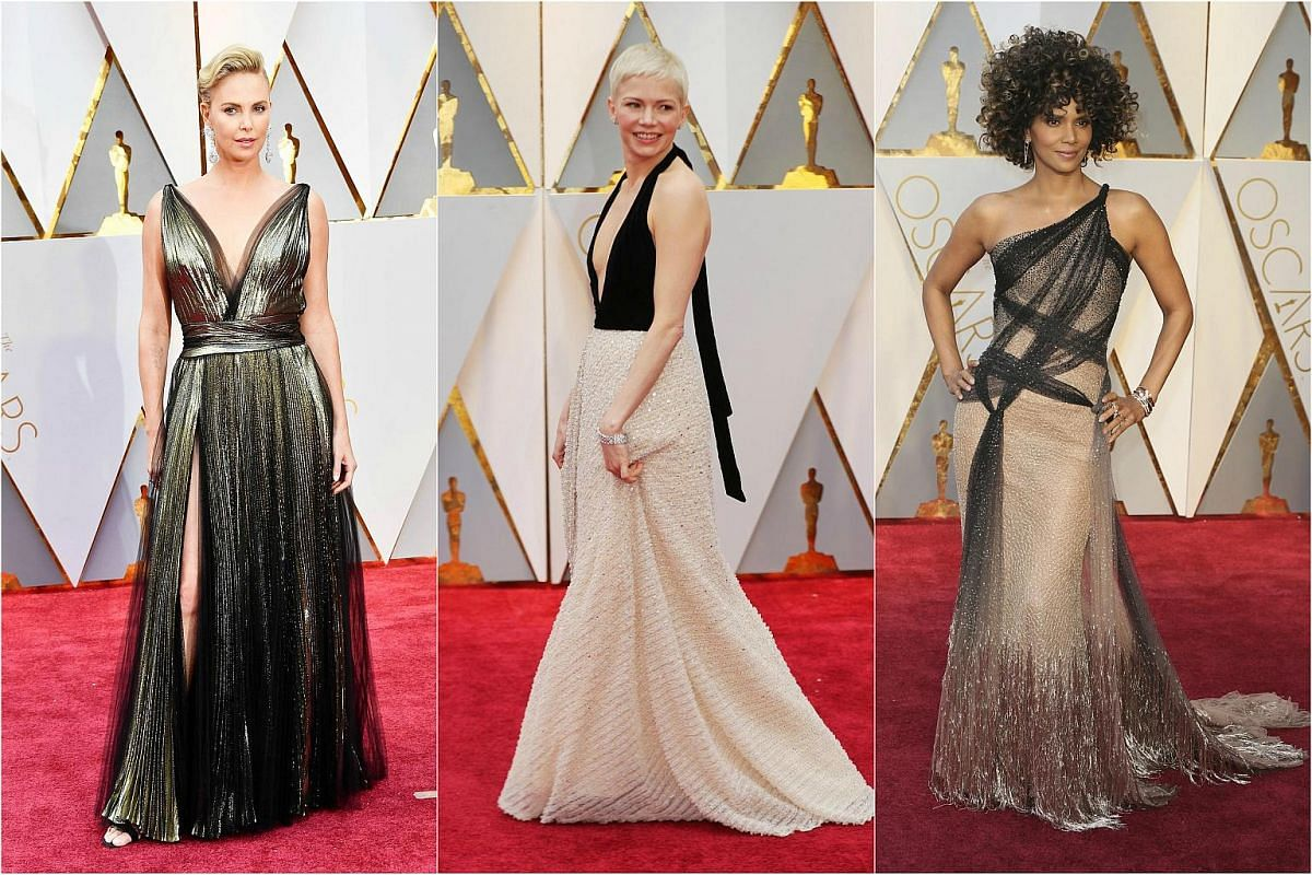 (From left) Charlize Theron, michelle williams and halle berry posing on the red carpet for the 89th Oscars, on Feb 26, 2017.