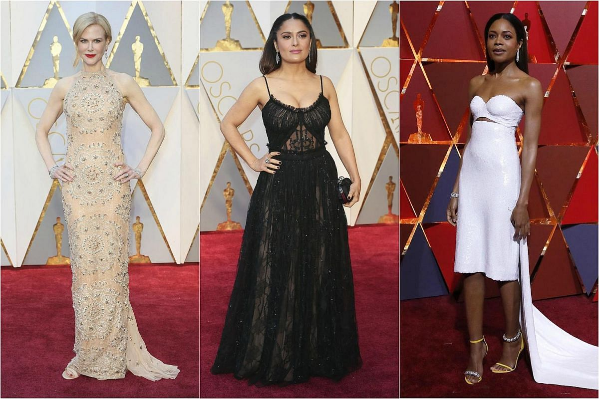 (From left) Nicole Kidman, Salma Hayek and Naomie Harris posing on the red carpet for the 89th Oscars, on Feb 26, 2017.