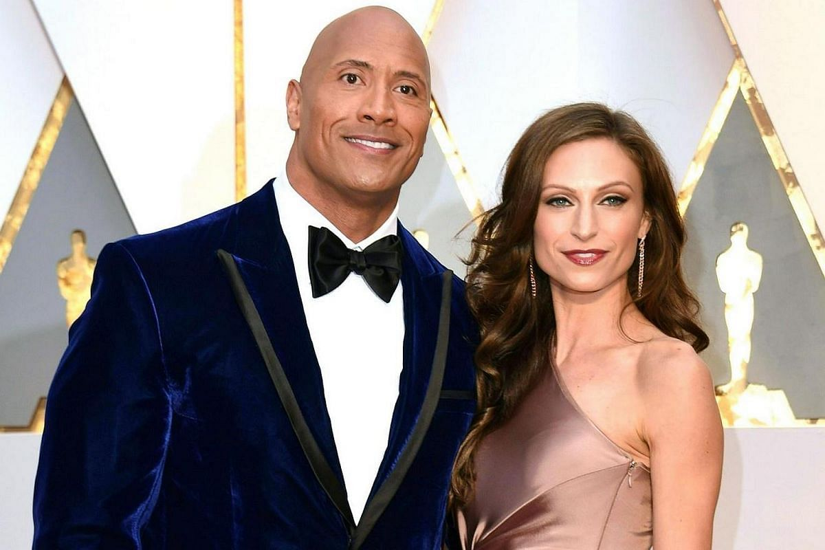 Actor Dwayne Johnson arriving with a guest on the red carpet for the 89th Oscars, on Feb 26, 2017.
