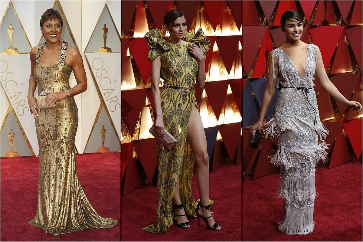(From left) Robin Roberts, Blanca Blanco and Olivia Culpo arriving on the red carpet during the 89th Academy Awards in Hollywood, California, on Feb 26, 2017.