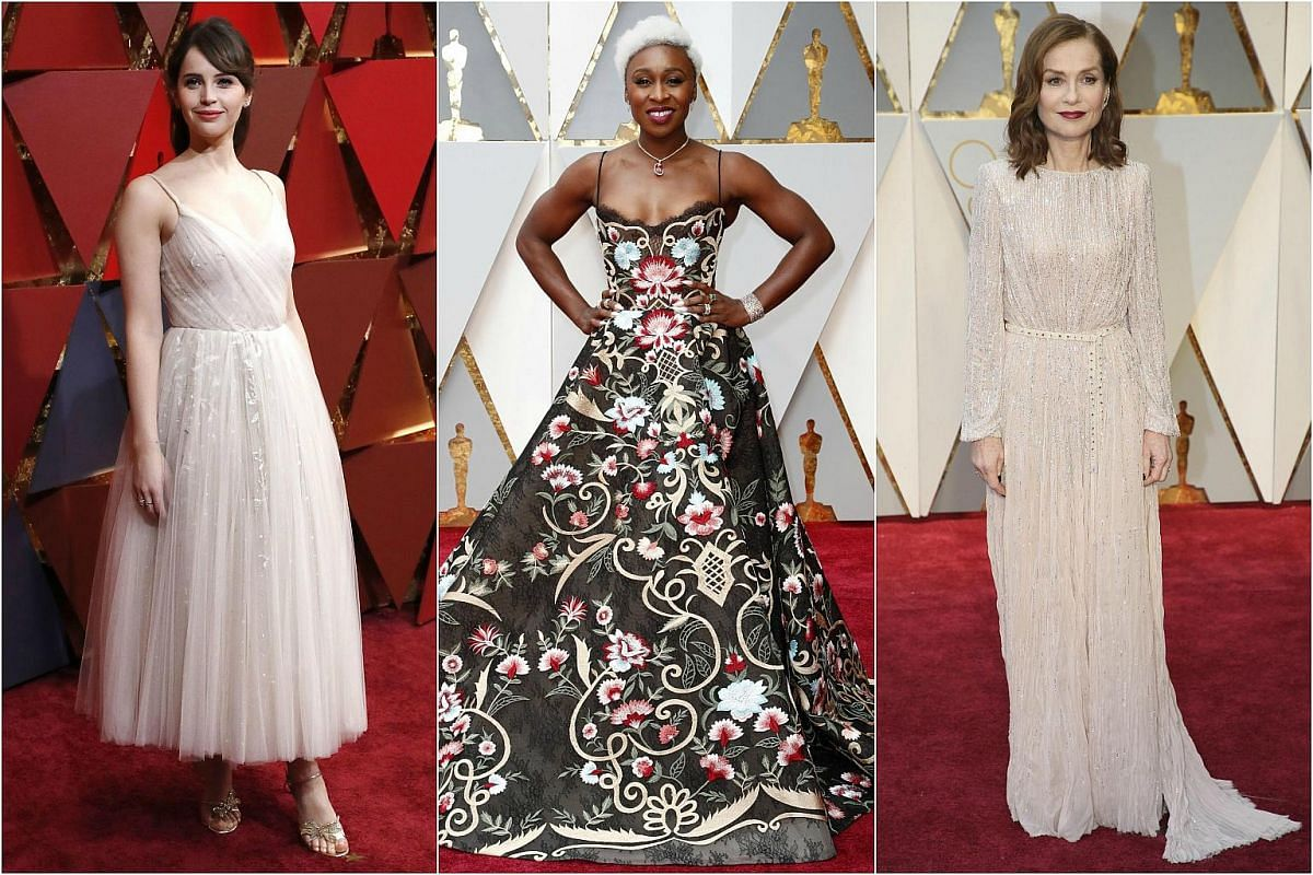 (From left) Felicity Jones, Cynthia Erivo and Isabelle Huppert arriving on the red carpet during the 89th Academy Awards in Hollywood, California, on Feb 26, 2017.