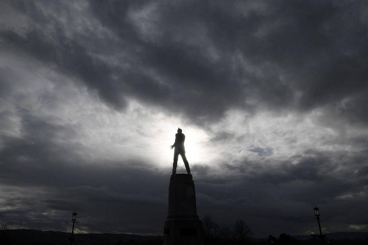 A statue of Lord Edward Carson, an early twentieth century Unionist member of parliament associated with the founding of the political state of northern Ireland, near the Stormont Parliament building in Belfast, Northern Ireland, on March 1, 2017.