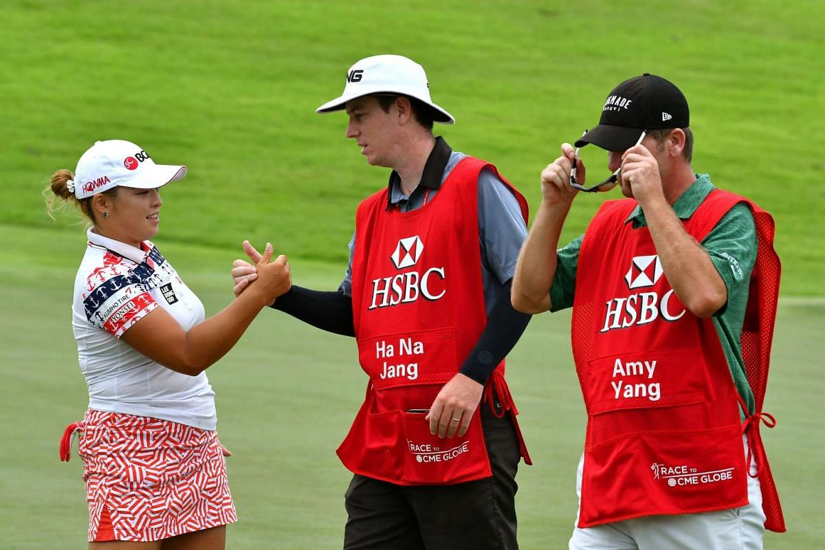 Ha Na Jang (left) from Republic of Korea at the end of the opening round of the HSBC Women's Champions at Sentosa Golf Club, on March 2, 2017.