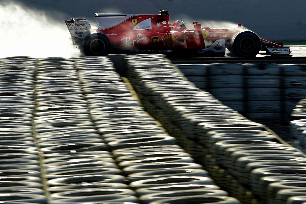 Ferrari's Finnish driver Kimi Raikkonen drives at the Circuit de Catalunya on March 2, 2017 in Montmelo, on the outskirts of Barcelona during the fourth day of the first week of tests for the Formula One Grand Prix season.