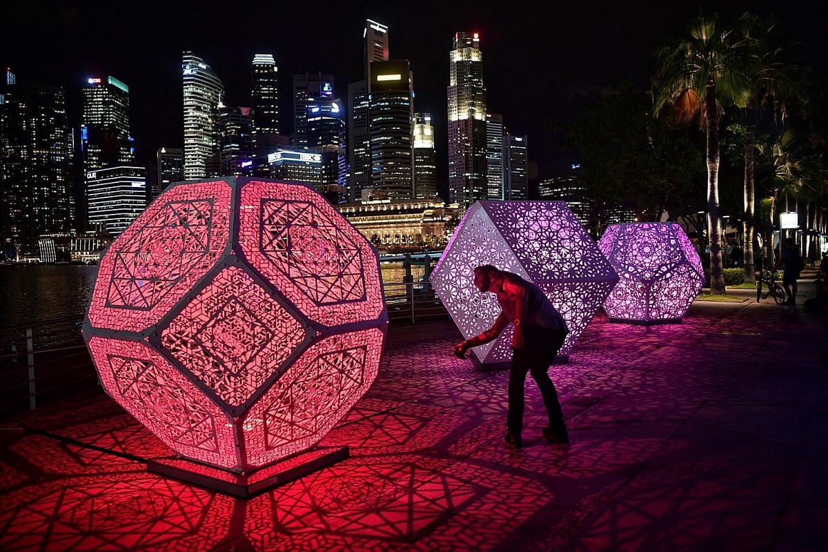 A light-art installation by Yelena Filipchuk and Serge Beaulieu of the US and Canada titled HYBYCOZO are displayed during media preview for the iLight Marina Bay festival in Singapore, on March 1, 2017.