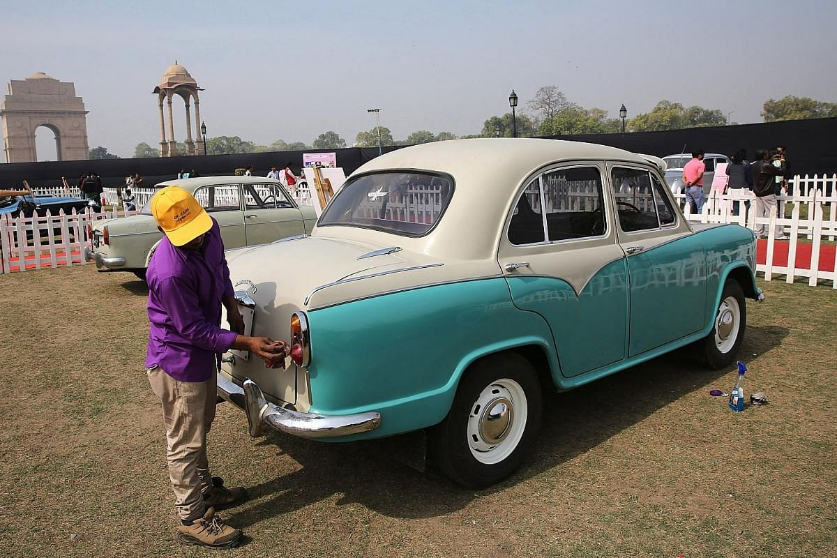 Amby's manufacturer Hindustan Motors upgraded the car to comply with emission norms and made other tweaks over the years - but barely changed the design. An Amby on display at a recent car rally event in New Delhi. Since production of the car stopped
