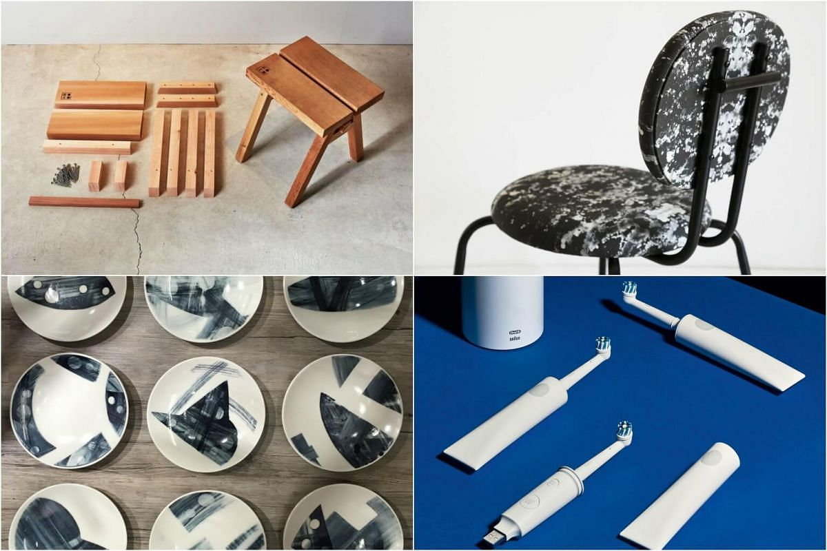 Clockwise from top left: The Ishinomaki Stool by Ishinomaki Laboratory; the print on the Bubba chair by local artist Estella Ng; the Oh! electric toothbrush; plates from Monkey And Donkey Design from Hong Kong.