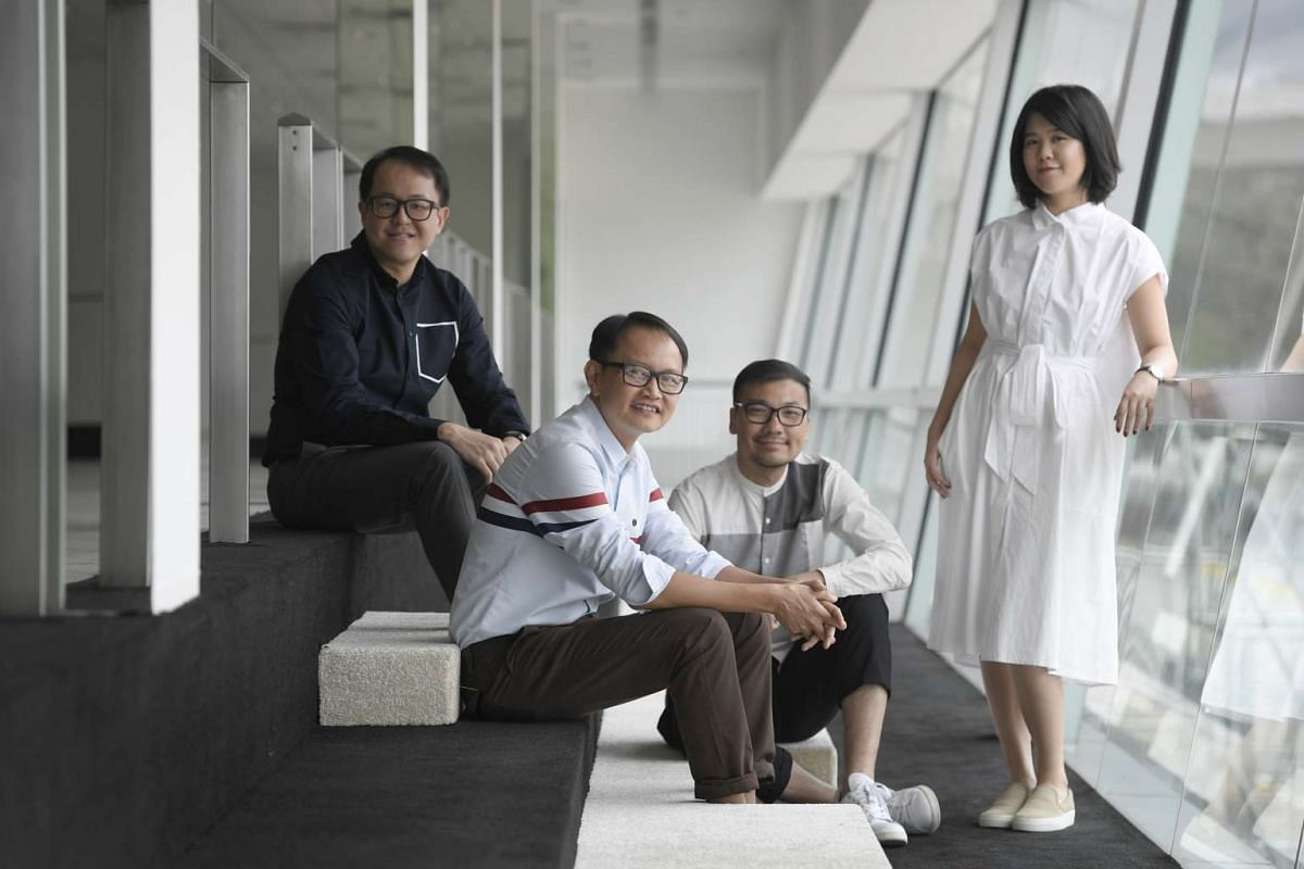The SingaPlural team includes (from far left) festival chairman Mark Yong; festival director Bacus Boo; and curators Jackson Tan and Charice Chan, who are from creative agency Black.