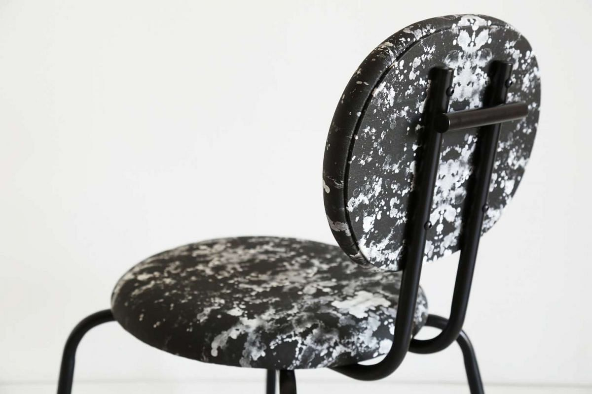 The print on the Bubba chair is by local artist Estella Ng. It was a collaboration with Onlewo to turn her artwork into upholstery fabric for the seat designed by George Soo from Fliq. It is one of the six chairs they made together for SingaPlural.