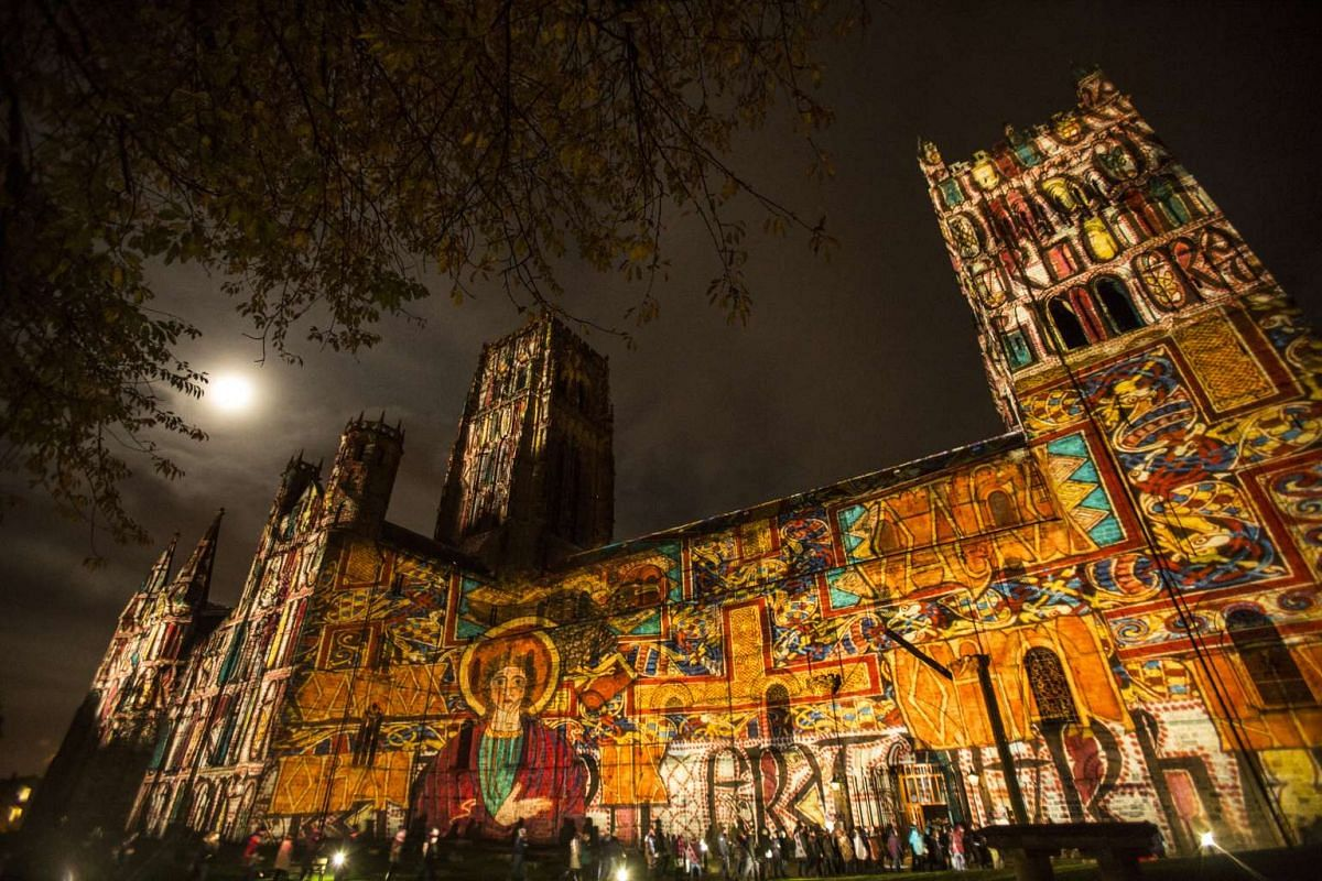 Crown Of Light, a sound and light show projected onto the mediaeval Durham Cathedral.