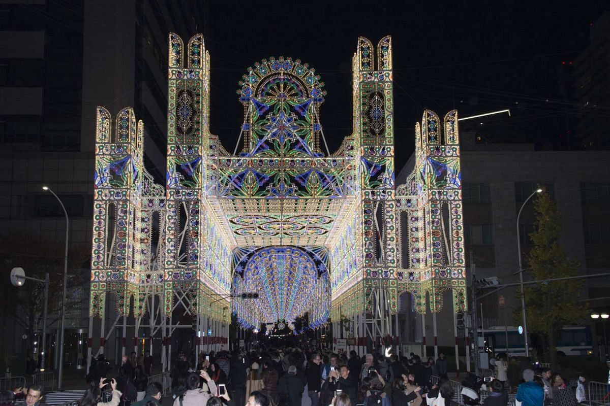 Light installations made in Italy are flown in for the Kobe Luminarie.
