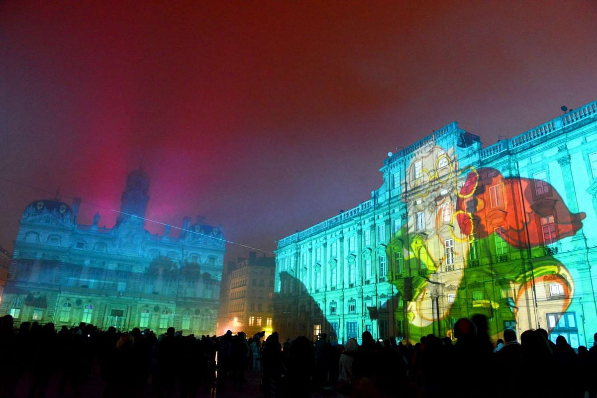 A light show in Lyon, France.