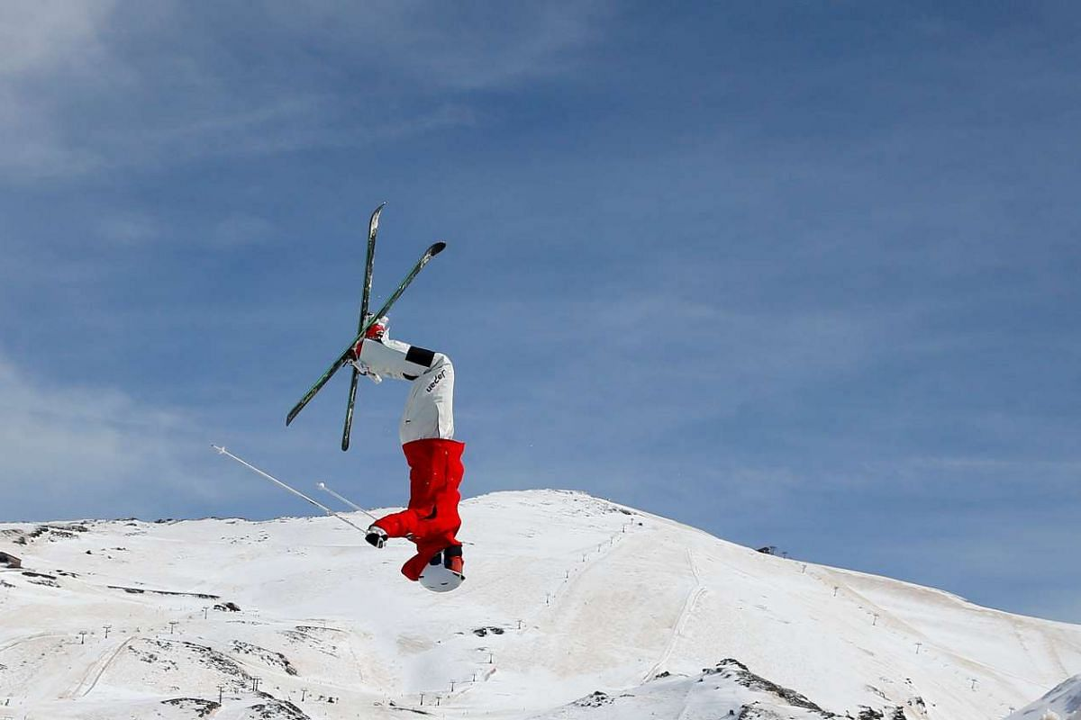 An unidentified competitor trains at the Snowboarding and Freestyle Skiing World Championship in Sierra Nevada, Spain.